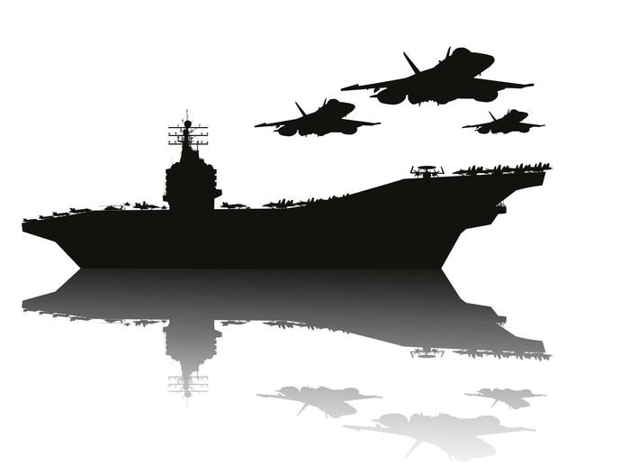 Vinylová Tapeta Letadlová loď a létání letadla vektor silhouettes.EPS10 - Témata