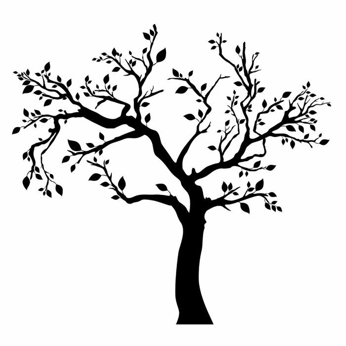 Wandtattoo Baum Silhouette Mit Blättern Auf Weißem Hintergrund.