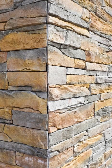 Fotomural Esquina de la pared de piedra artificial - Modelo de ...