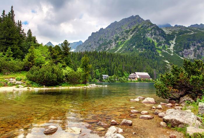 Carta da parati popradske pleso slovacchia paesaggio di for Carta da parati per casa in montagna