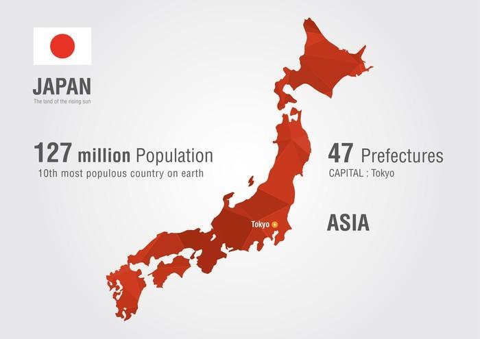 Vinilo Pixerstick Japón mapa del mundo con una textura de diamante ...