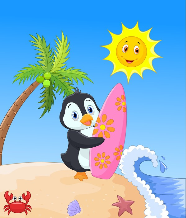 Adesivo felice cartone animato pinguino azienda tavola