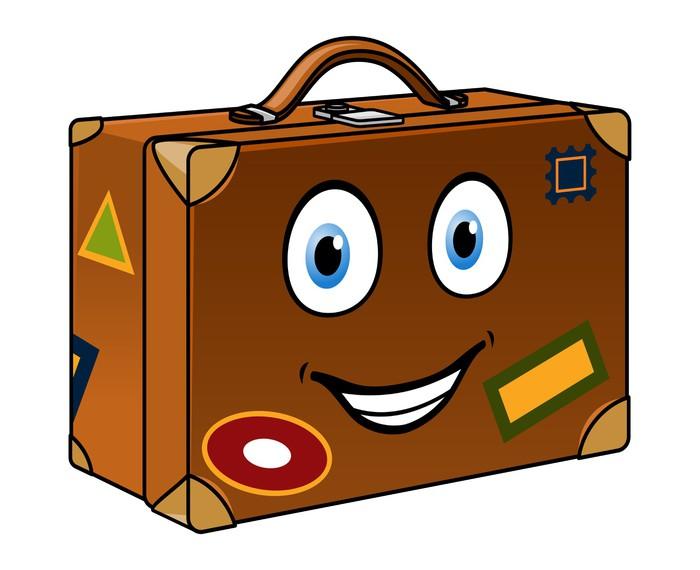 fotomural feliz de dibujos animados maleta viajera Vintage Luggage Gift Box Template Pink Vintage Luggage