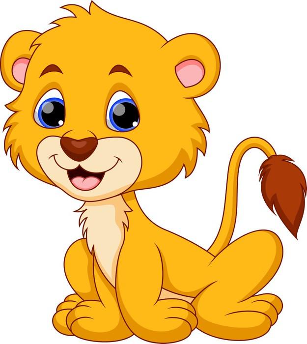 Quadro su tela leone carino cartone animato pixers