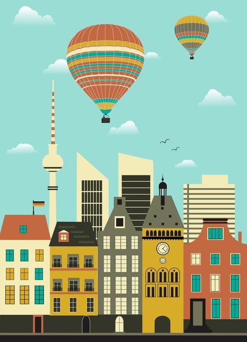 Vinylová Tapeta Horkovzdušné balóny nad městem. - Evropa