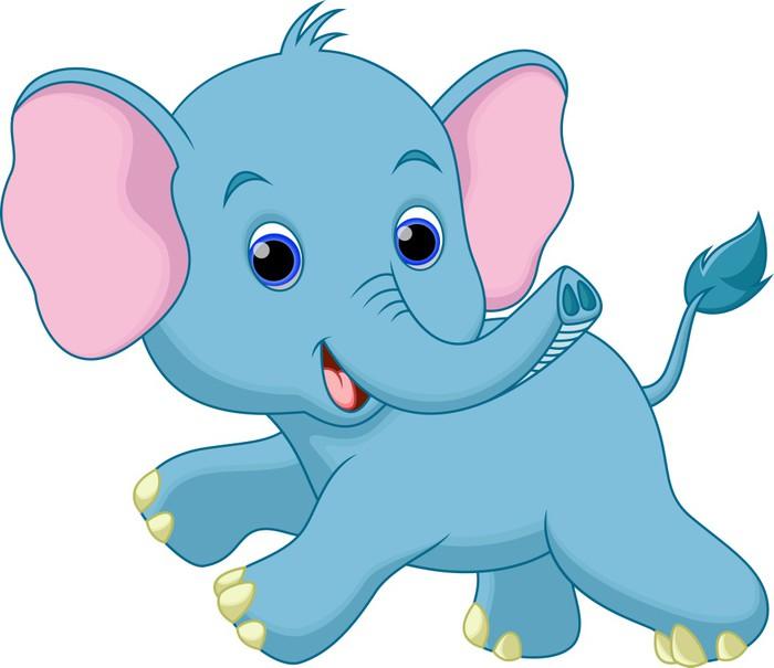 Carta da parati cute baby elefante cartone animato in