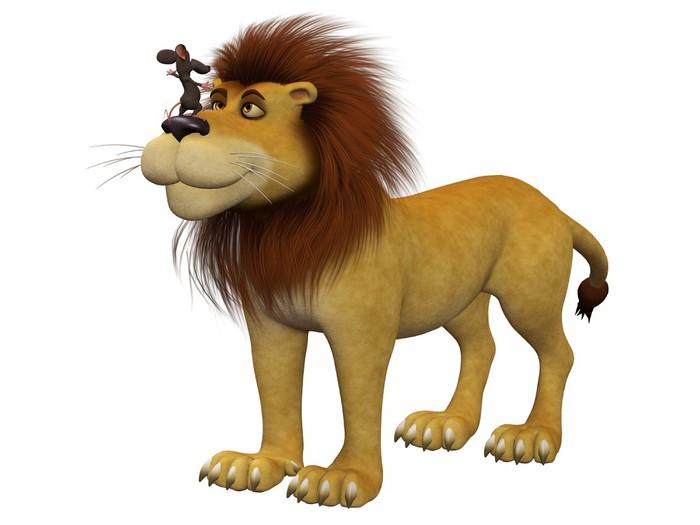 Vinylová Tapeta Odvaha, 3D kreslená myš se lvem - Savci