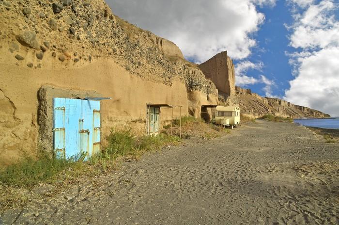Vinylová Tapeta Santorini auto karavan přívěs - Prázdniny
