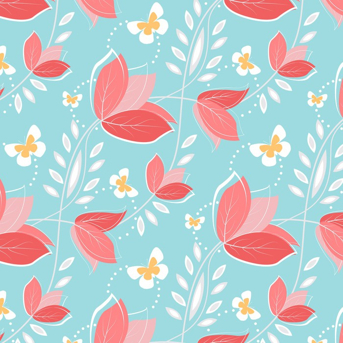 Seamless pattern with vintage flowers Vinyl Wall Mural - Backgrounds