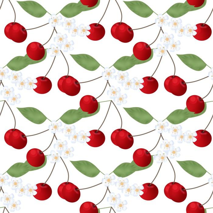 Vinylová Tapeta Bezešvé vzor s cherry ANF květinami na bílém - Jídla