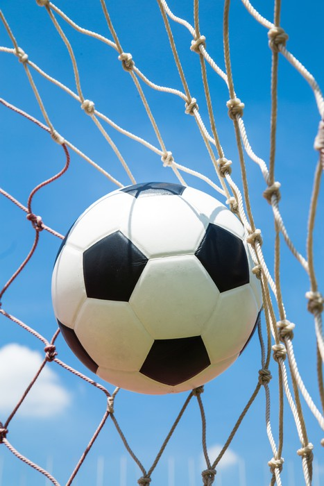 Vinylová Tapeta Fotbalový míč do branky po natočen - Týmové sporty