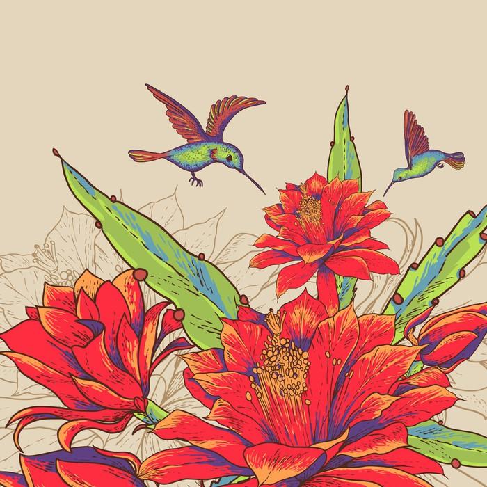 papier peint carte vintage avec des fleurs rouges et. Black Bedroom Furniture Sets. Home Design Ideas