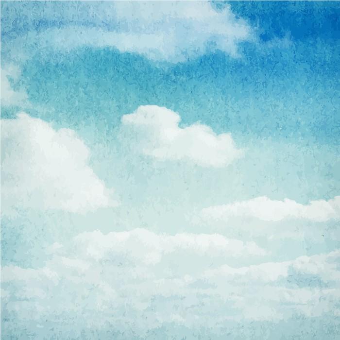 Vinylová Fototapeta Akvarel mraky a obloha na pozadí - Vinylová Fototapeta