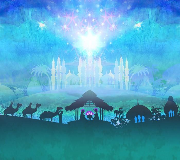 Nálepka Pixerstick Biblický výjev - narození Ježíše v Betlémě. - Mezinárodní svátky
