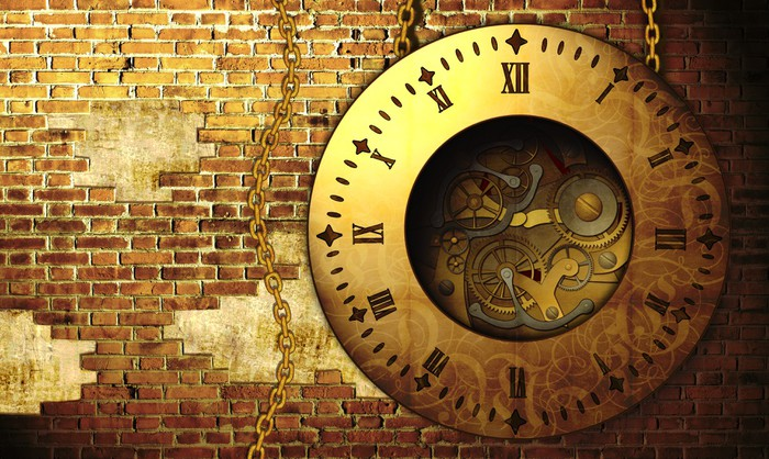 Steampunk clock wall mural pixers we live to change for Clock wall mural