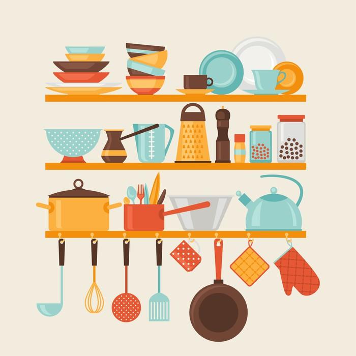 Sticker carte avec des tag res de cuisine et ustensiles for Ustensiles de cuisine retro