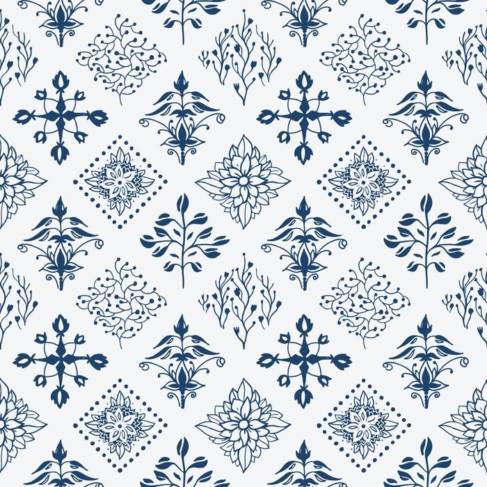 Tapete indigo blau hand gezeichnet nahtlose muster for Tapete orientalisch blau