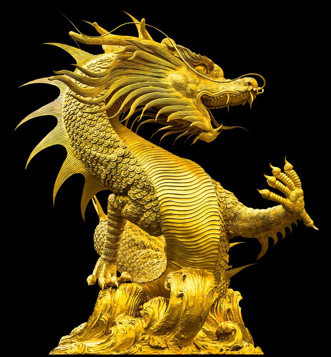Golden dragon statue Wall Mural • Pixers® • We live to change