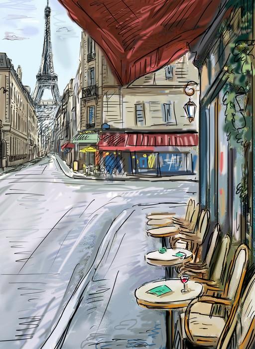 Vinylová Tapeta Ulice v paříži - ilustrace - Evropská města