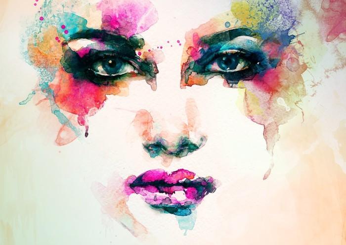 Obraz na Plátně Portrét ženy .abstract akvarel .fashion pozadí - Lidé