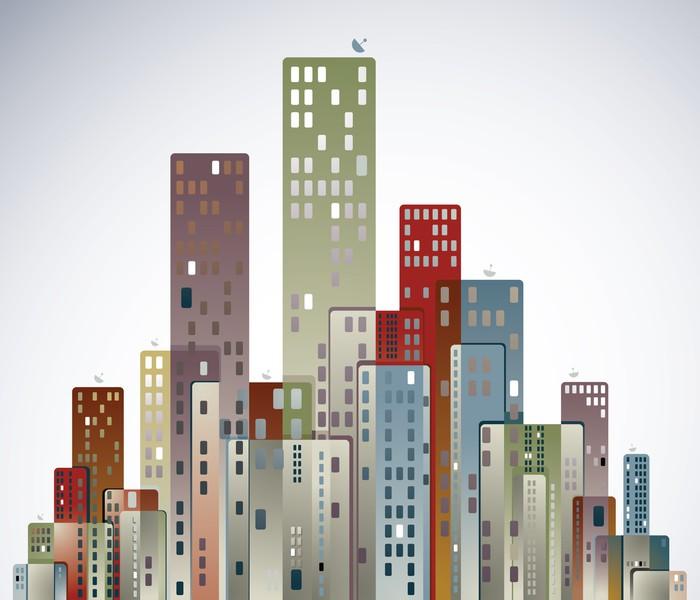 Vinylová Tapeta Moderní město panorama. - Město