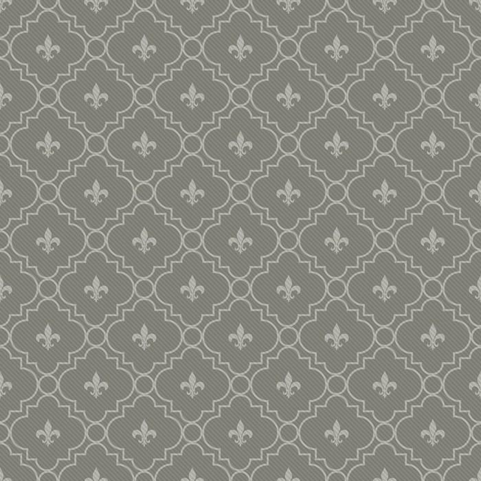 Papier peint Motif blanc et gris foncé Fleur-De-Lis tissu texturé ...