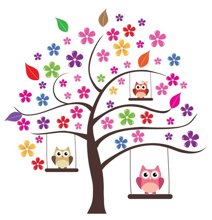 Vinylová Tapeta Owl ve stromu - Stromy a listí