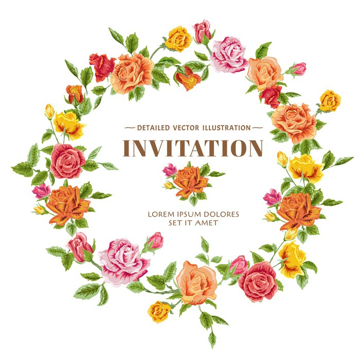 Vintage Roses Frame Card - in vector Wall Mural • Pixers® • We live ...