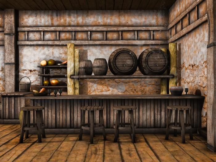 Adesivo bancone in legno e sgabelli in una taverna medievale