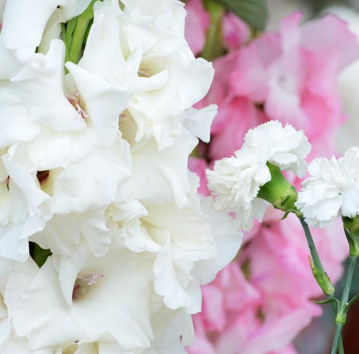 Vinylová fototapeta Kytici bílých gladioluses, na zeleném pozadí - Vinylová fototapeta