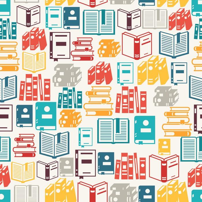 Carta da parati seamless pattern con i libri in stile for Carta da parati libri