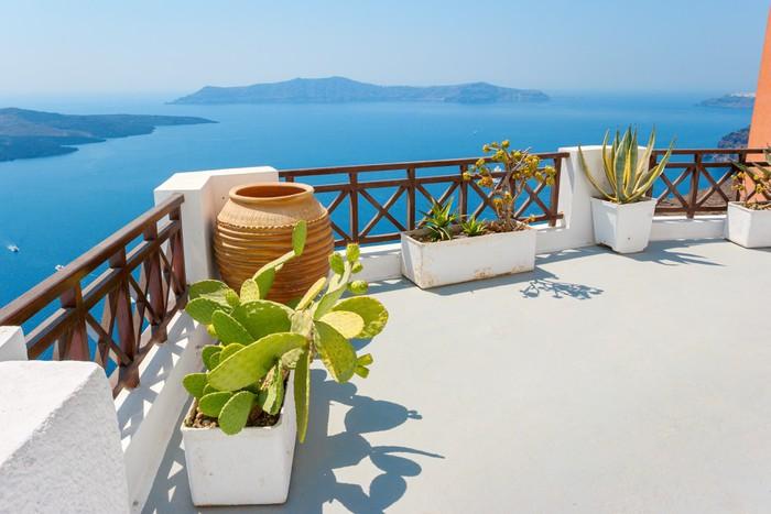 Fototapete Terrasse Mit Meerblick. Fira, Santorini, Griechenland