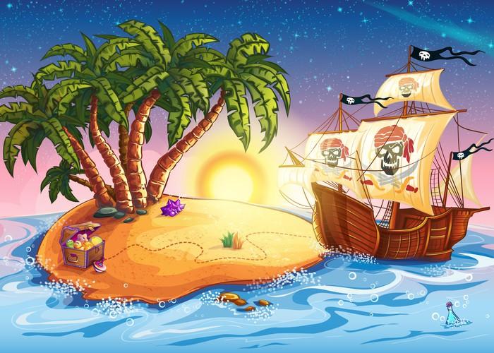Nálepka Pixerstick Ilustrace ostrov pokladů a pirátské lodi - Osud