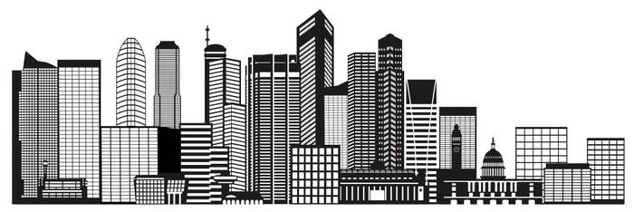 Vinylová Tapeta Singapore City Skyline černá a bílá vektorové ilustrace - Asijská města