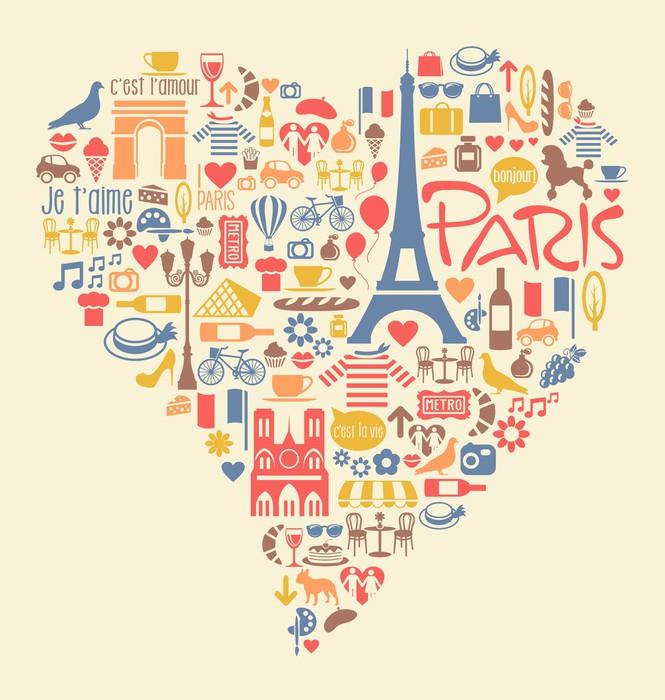 Vinylová Tapeta Paříž Francie Ikony památky zajímavosti ve tvaru srdce - Evropa