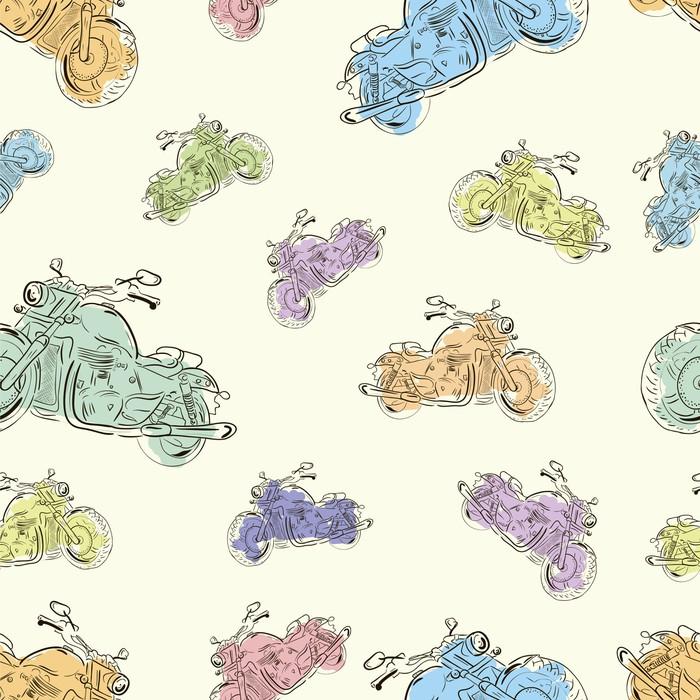 Vinylová Tapeta Bezešvé textury s motocykly 3 - Struktury