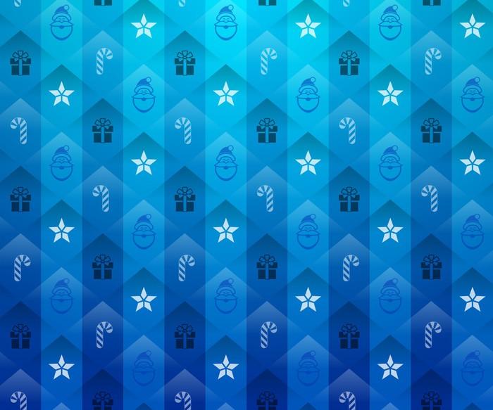 Vinylová Tapeta Vánoční modré pozadí. Nový rok model s hvězdou a dar - Témata
