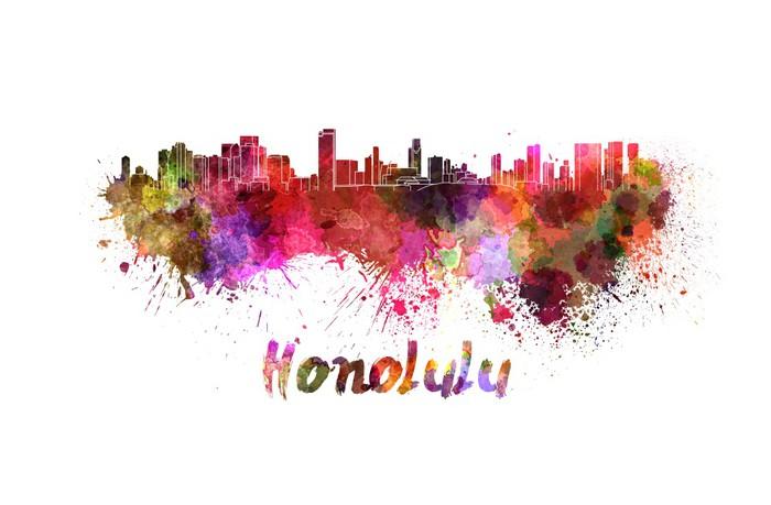 Vinylová Tapeta Honolulu panorama v akvarel - Amerika