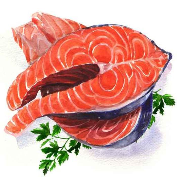 Papier Peint Vinyle Pavé de saumon poissons rouges - Business