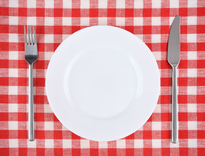 Plate With Fork And Knife On A Red Checkered Tablecloth. Vinyl Wall Mural    Themes