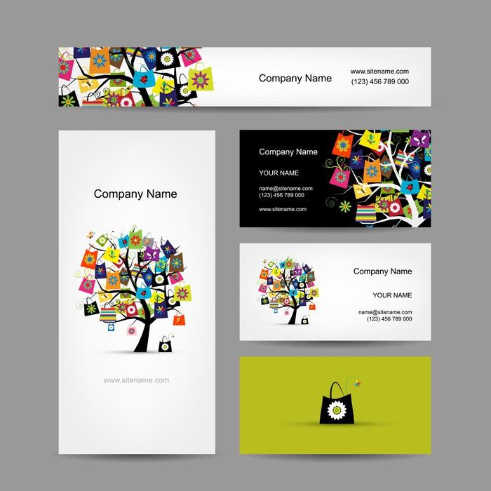 Fototapete Set von Visitenkarten-Design, Einkaufen Baum mit Taschen ...
