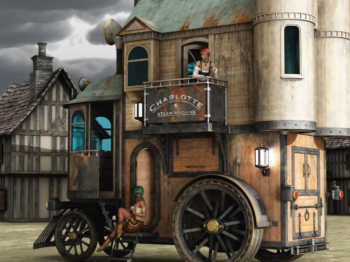 Steampunk mobile bordello Wall Mural • Pixers • We live