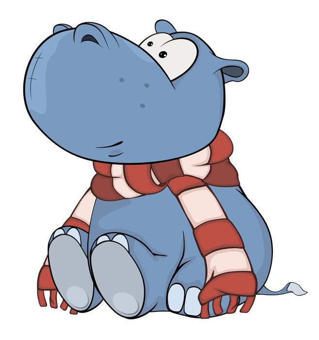 Sticker petit hippopotame dessin animé pixers nous