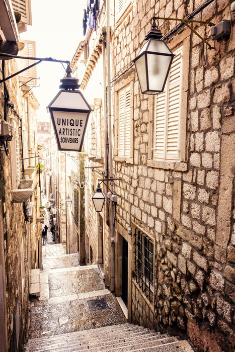 Steep Stairs And Narrow Street In Old Town Of Dubrovnik Vinyl Wall Mural    IStaging