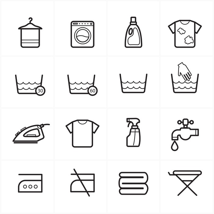 flat line icons for laundry and washing icons poster pixers we