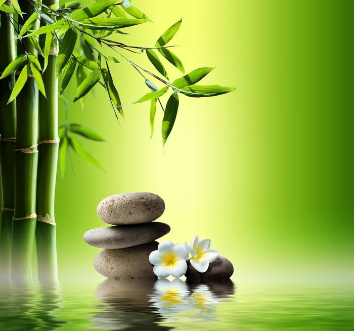 Zen Live Wallpaper: Spa Background With Bamboo And Stones On Water Wall Mural