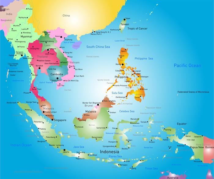 karta sydostasien Fototapet Sydostasien karta • Pixers®   Vi lever för förändring karta sydostasien