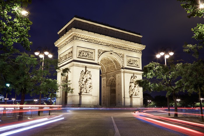arc de triomphe in paris at night wall mural pixers we live to