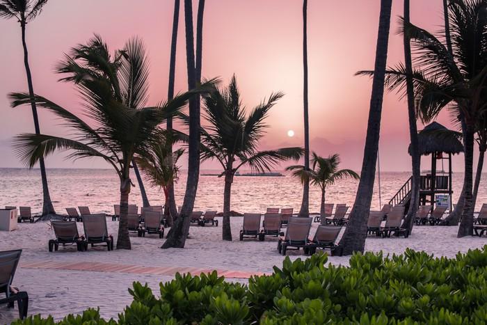 Vinylová Tapeta Krásnou tropickou pláž s siluety palem - Palmy