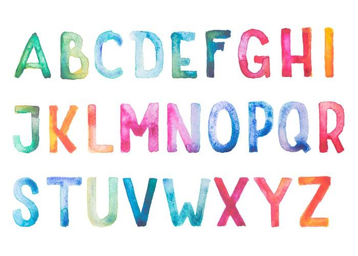 Vinylová Tapeta Barevné akvarel akvarel typ písma ručně psané ručně nakreslit - Témata